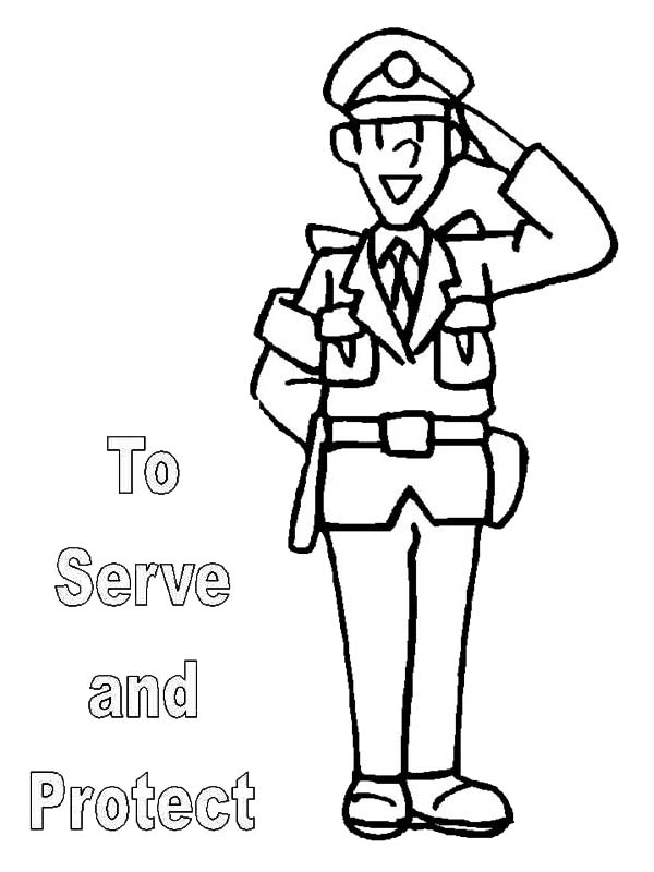 to serve and protect is what police officer do coloring page