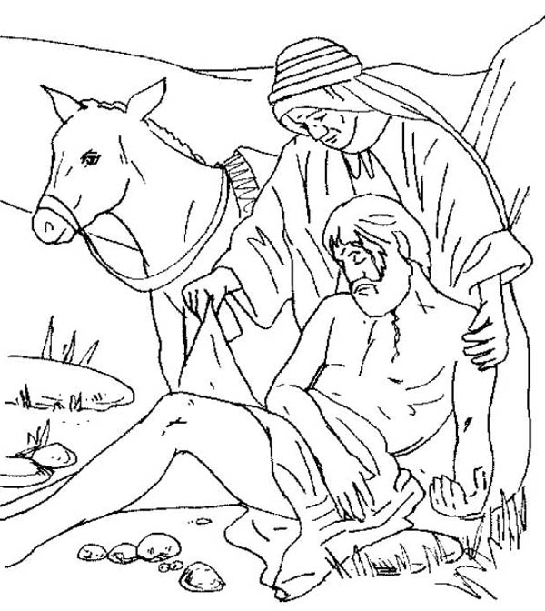 Traveller Being Helped By Good Samaritan Coloring Page