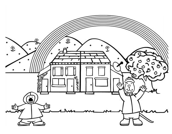 Two Happy People and Gingerbread House Coloring Page
