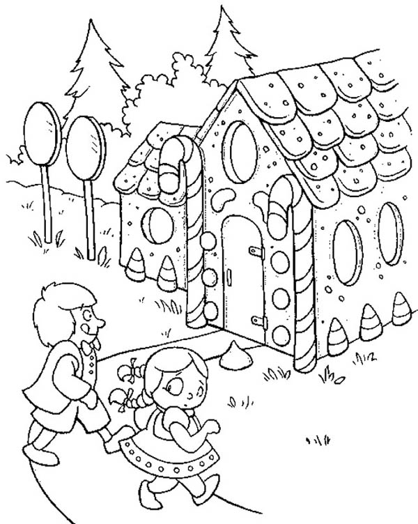 Two Kids Going to Gingerbread House Coloring Page NetArt