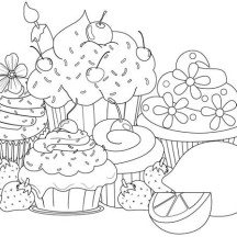 Various Cupcake Flavour Coloring Page