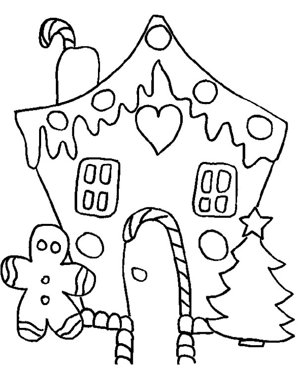 White Christmas Gingerbread House Coloring Page - NetArt