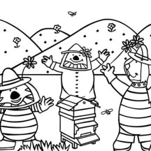 Winnie the Pooh and Friends in Front of Beehive Coloring Page