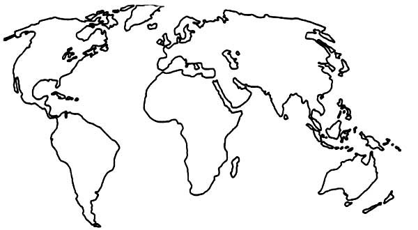 World Map Drawing Coloring Page