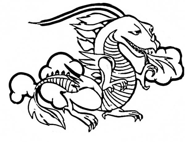 A Classic Ancient China Dragon Coloring Page