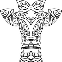 Amazing Sculptures of Totem Poles Coloring Page