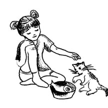 An Ancient China Drawing of Little Girl Coloring Page