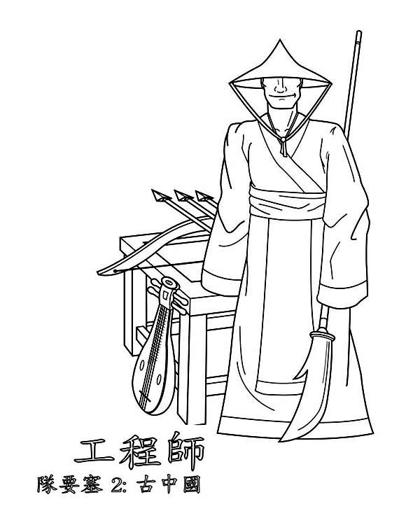 an ancient china warrior monk coloring page