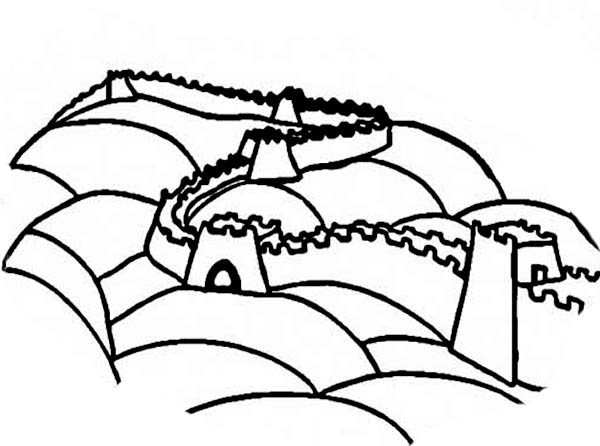 ancient china great wall coloring page - Great Wall China Coloring Page
