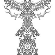 Animal Spirits Totem Poles Coloring Page
