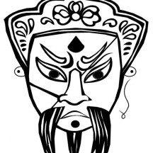 Beautiful Ancient China Opera Mask Coloring Page