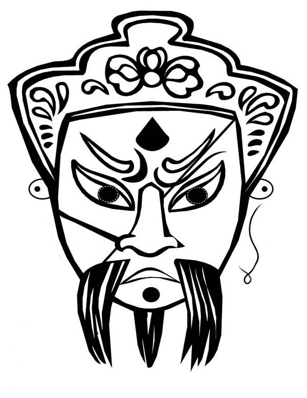 Beautiful Ancient China Opera Mask Coloring Page NetArt