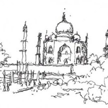 Beautiful Drawing of Taj Mahal Coloring Page