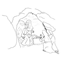 Cave Where Jesus Buried in Jesus Resurrection Coloring Page