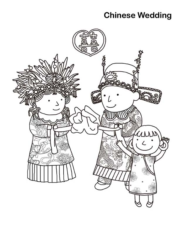 Classic Ancient China Wedding Coloring Page