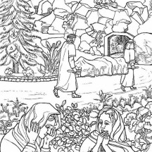 Everybody is Devastated When Jesus Died and Resurrection Coloring Page