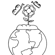 Happy Earth Day with Beautiful Flower Coloring Page