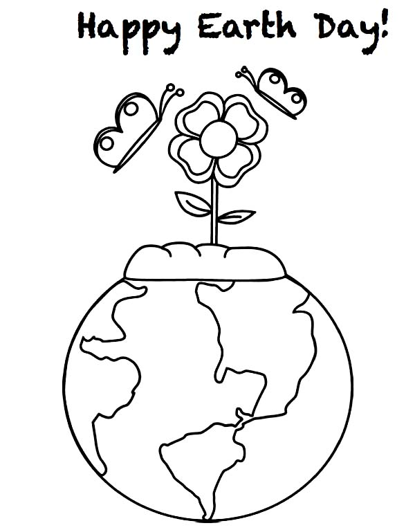 Happy Earth Day with Beautiful Flower Coloring Page NetArt