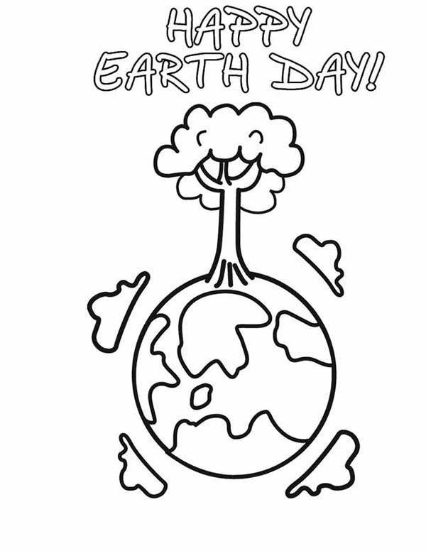 Happy Earth Day with Healthier Forest Coloring Page NetArt