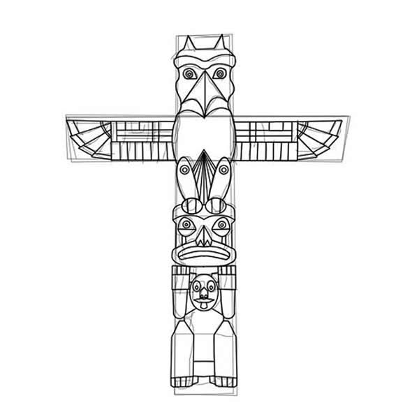 How to Carved a Totem Poles Coloring Page - NetArt