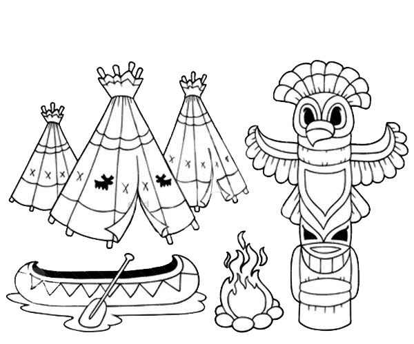 Coloring book with totem – vector illustration. - NetArt