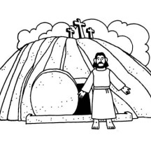 Jesus Burial and Jesus Resurrection Coloring Page
