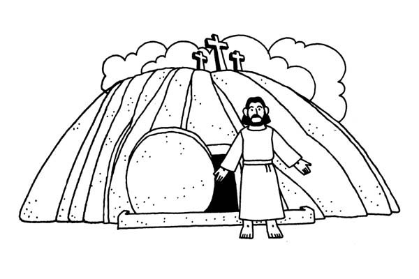 Jesus Burial And Resurrection Coloring Page