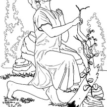 Jesus Prayed in the Garden of Gethsemane in Jesus Resurrection Coloring Page