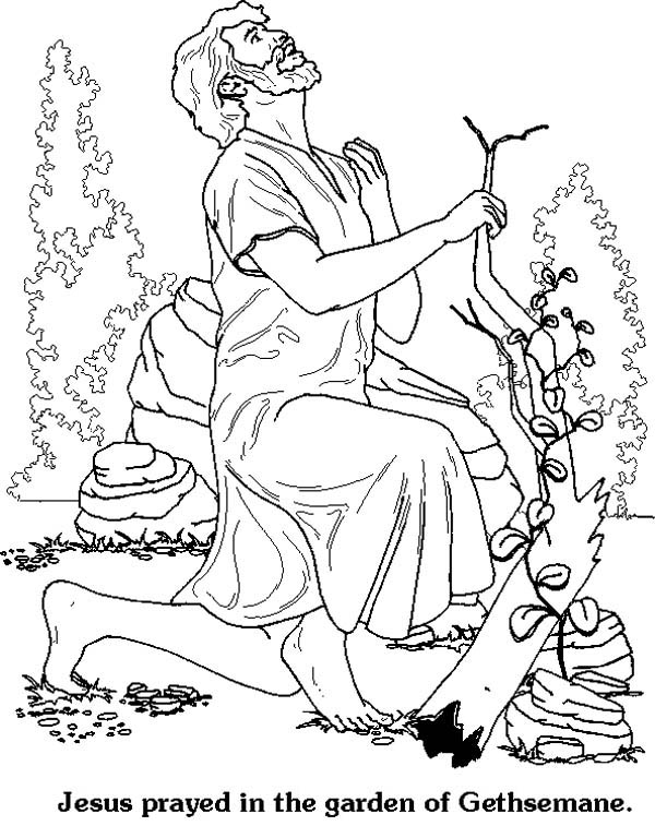 Jesus Praying In The Garden Coloring Page Coloring Pages