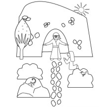 Jesus Resurrection from Tomb Where He Buried Coloring Page