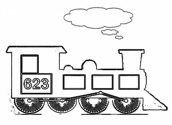 Kids Drawing of Steam Train Coloring Page - NetArt