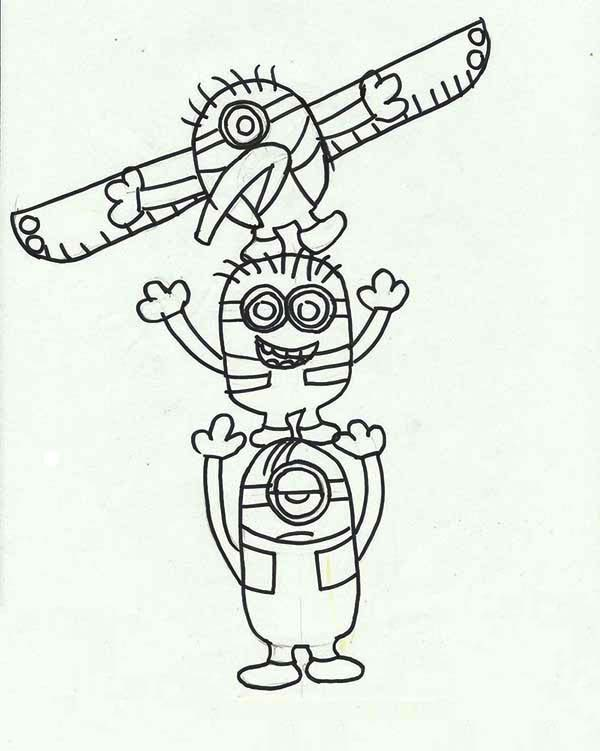 Totem Pole Coloring Pages Minion Totem Poles Coloring