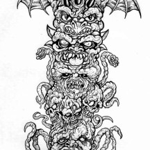 Monster Of Totem Poles Coloring Page