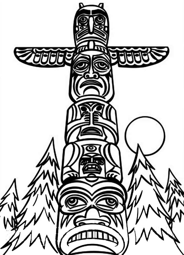 Monumental Totem Poles Coloring Page