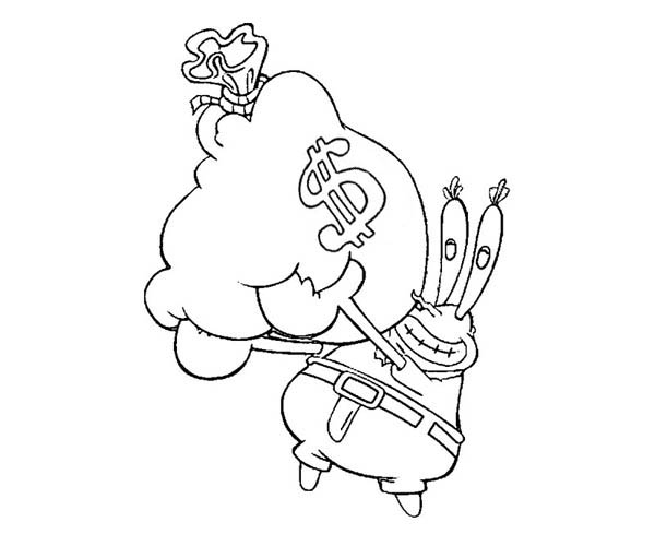 Mr Krabs Hold Bag of Money Coloring Page