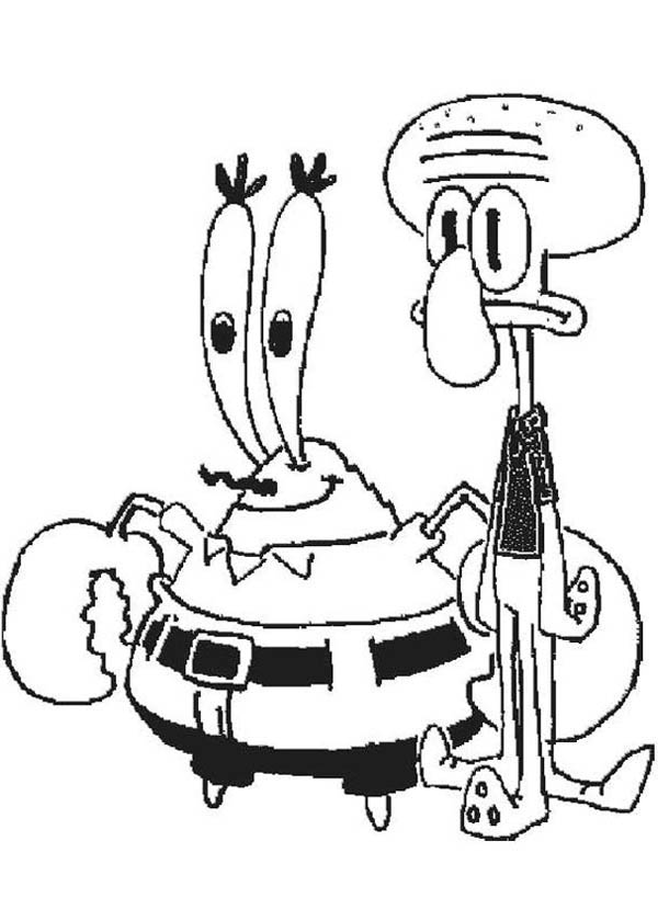 Mr Krabs And SquidWard Coloring Page