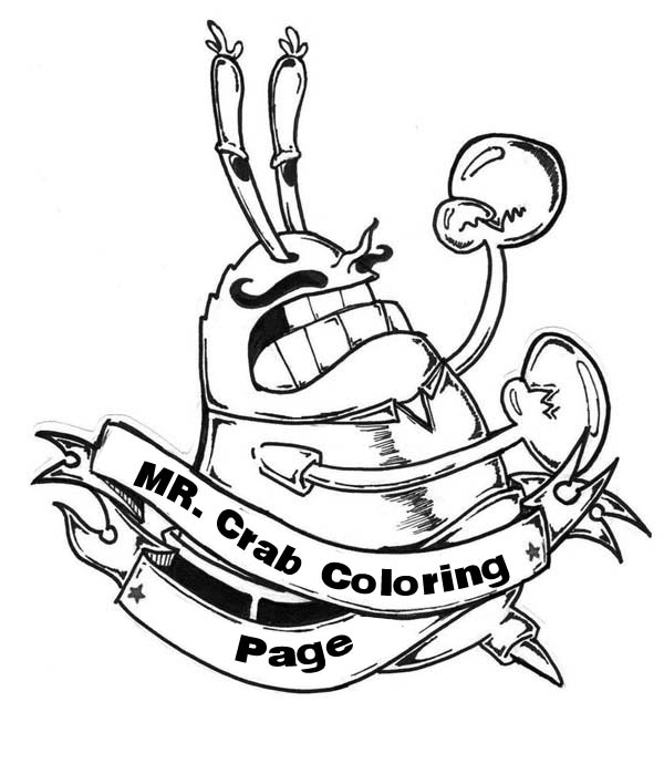 mr krabs with mustache is angry coloring page - Mustache Coloring Pages