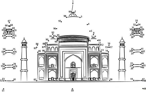 Mughal Architecture of Taj Mahal Coloring Page
