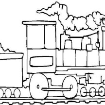 Operating Steam Train with Coal Coloring Page