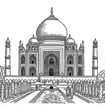 Realistic Drawing of Taj Mahal Coloring Page