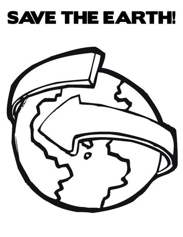 Save the Earth by Recycling on Earth Day Coloring Page
