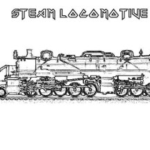 Sketch of Steam Train Locomotive Coloring Page