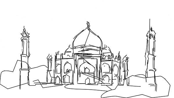 Sketch of Taj Mahal Coloring Page