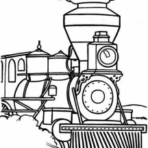 Steam Train Begin to Walk Coloring Page