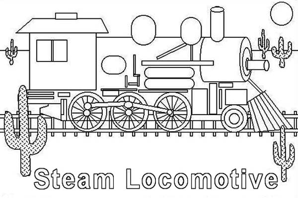 Steam Train Locomotive Coloring Page