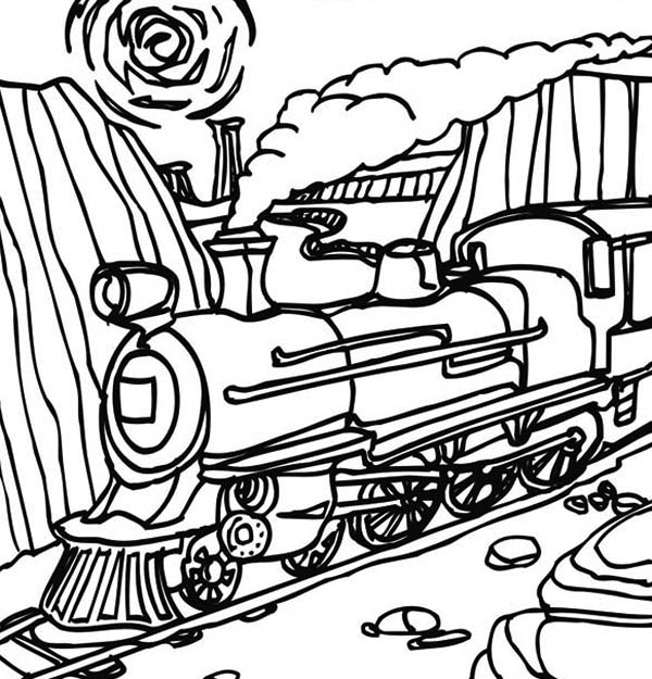 printable steam train coloring pages - steam train passing through mountain coloring page netart