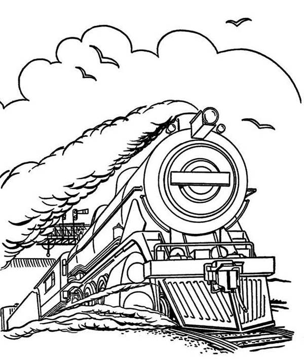 Steam Train Run in Speed Coloring Page - NetArt