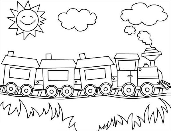 Steam Train on Sunny Day Coloring Page - NetArt