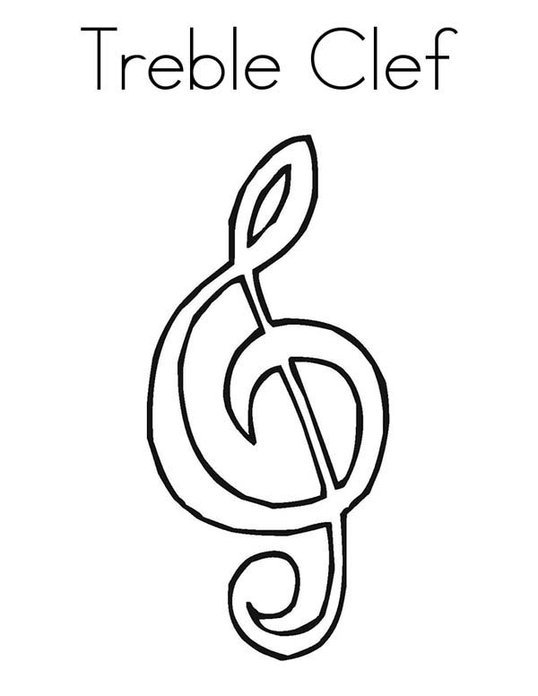 T is for Treble Clef Coloring Page