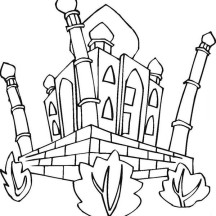 Taj Mahal Coloring Page for Kids